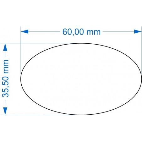 Socle ovale 60x35.5mm transparent