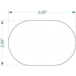 Socle 3''x2'' transparent arrondi