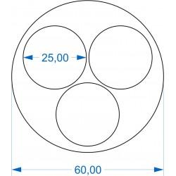 Plateau Rond 60mm avec 3 emplacements ronds de 25mm