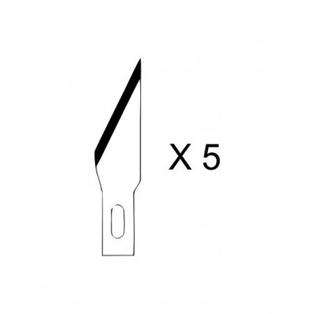 Set de 5 lames pointues pour couteau de modelisme