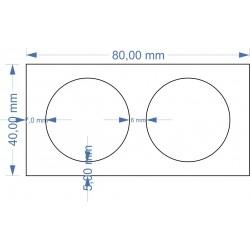 Plateau 80x40 avec 2 socles diamètre 30mm