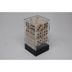 Marble 16mm d6 Ivory/black...