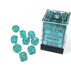 Borealis® 12mm d6 Teal/gold...