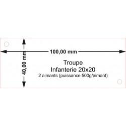 Plateau Troupe Infanterie 20x20 - 100x40mm Magnétique