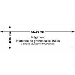 Plateau Régiment Infanterie de grande taille 40x40 - 120x40mm Magnétique