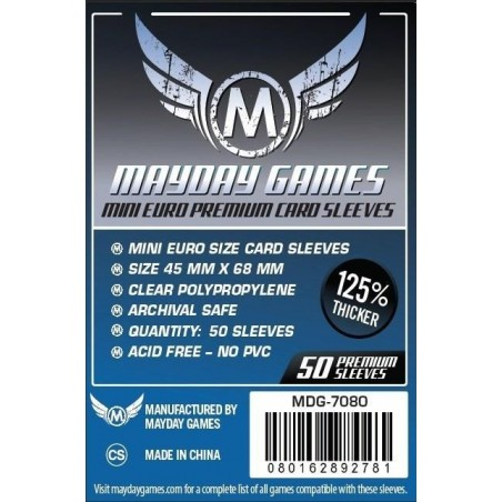 Premium Mini Euro Card Sleeve (50 pack) 45 mm X 68 mm (Dark Blue)