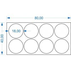 Plateau 80x40 - 4x2 Socles Rond diamètre 18mm